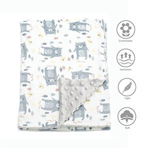 100% Polyester knitting customized digital print Soft Minky Double Layer Royal Fleece Baby Blanket