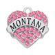 US Country Montana State Pave Crystal Heart Charm Pendant Alloy Metal