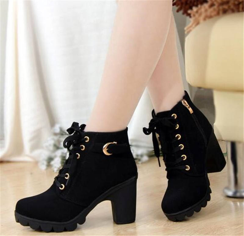 Dropshipping 2017 New Autumn Winter Women Boots High Quality Solid Lace-up European Ladies shoes PU Leather Fashion Boots