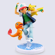 Japan anime Figure Pocket Monster /pokemon/Go Pikachu Satoshi&Pikachu/Hitokage 10cm cute toy action figure