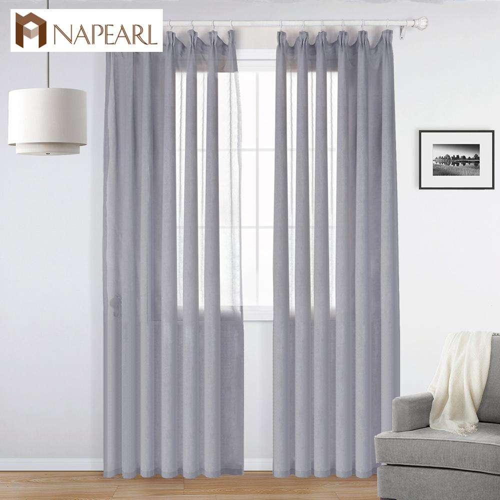 NAPEARL cheap plain grey colour linen gauze curtains 96 length
