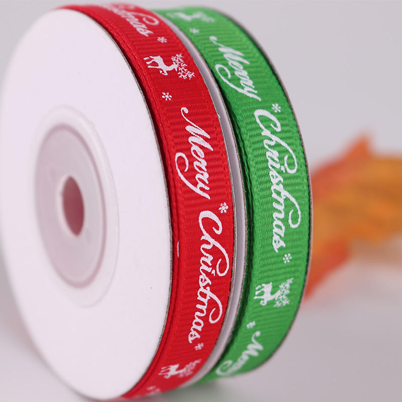 10mm Wholesales New arrival Merry Christmas grosgrain ribbon holiday gift customized ribbon stock