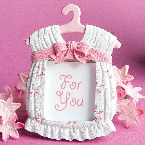 Cute bule and pink baby clothes photo frame baby shower favors gifts