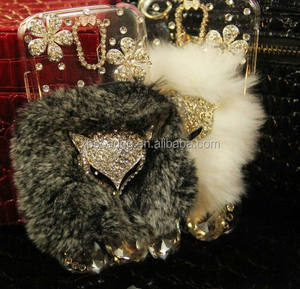 Luxe Diamond case voor Samsung Galaxy S3 S4 S5, Bling bling bont cover voor iphone, fox diamond case voor Samsung
