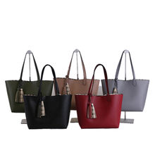 Stylish European And American Famous Brand 2 Set Luxury Tassel Barrel PU Tote Lady Handbag