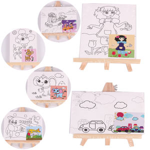 8 Design Kids Canvas Painting Set Mini Tabletop Easel Painting Canvas Set With Paint For Kids Drawing