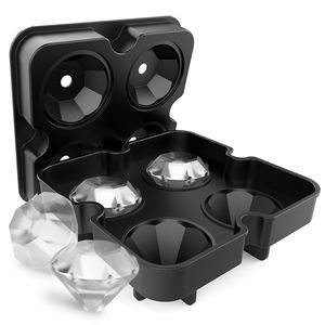 Hot sell custom ice cube maker diamond shaped tray silicone ice block moulds