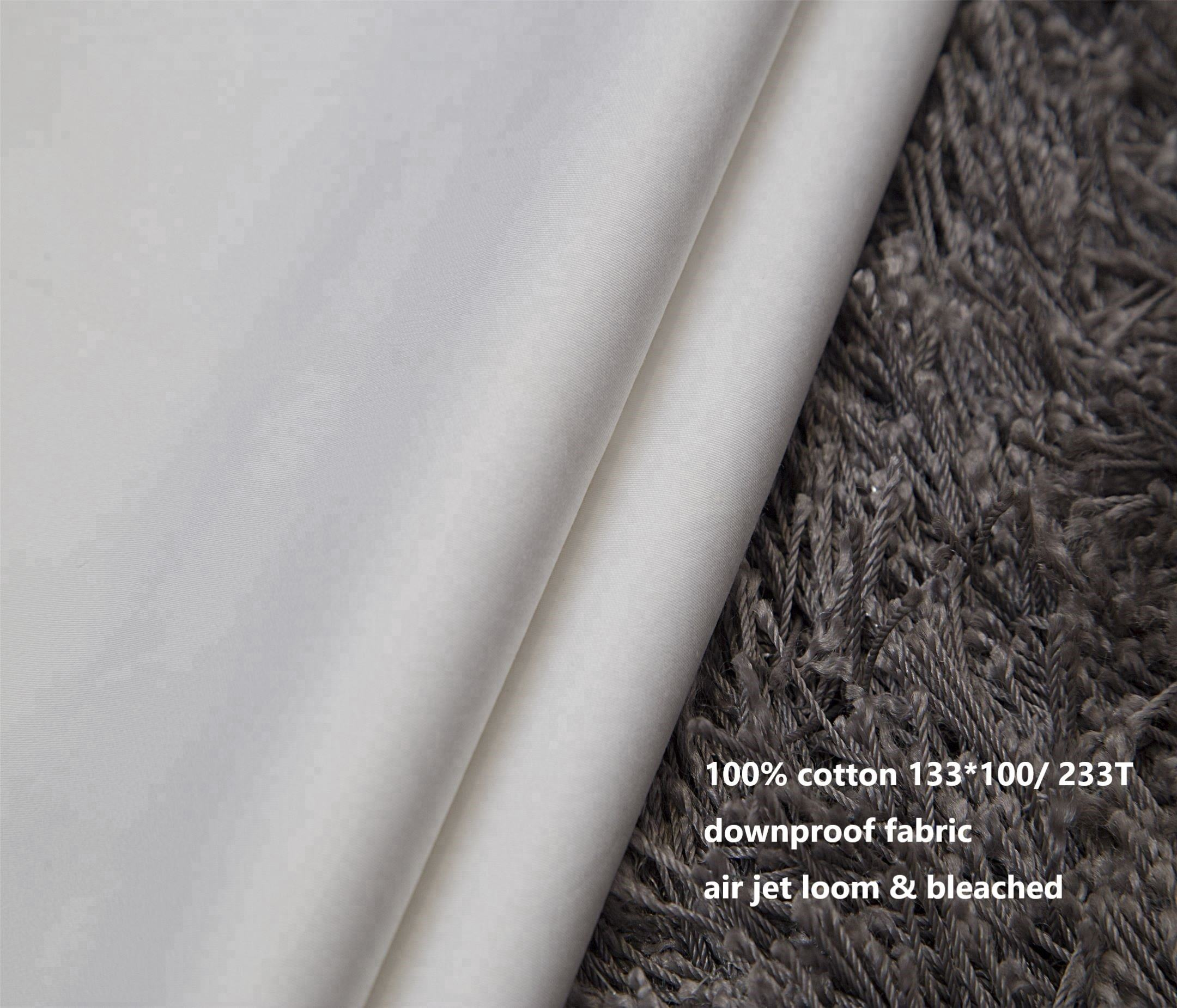 stock 100% cotton white 233T downproof fabric with air jet loom in roll
