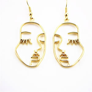2019 Instagram Funny Personality abstraction Irregular face gold plated Stud earrings for women