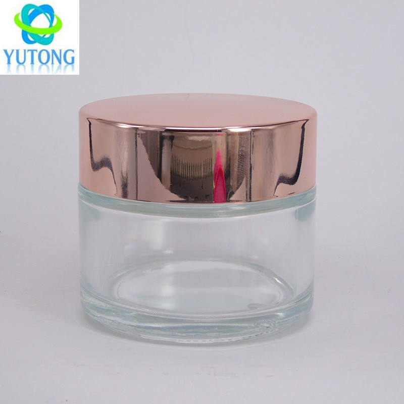 cosmetic cream clear glass 50ml jar with silver gold and rose gold covers