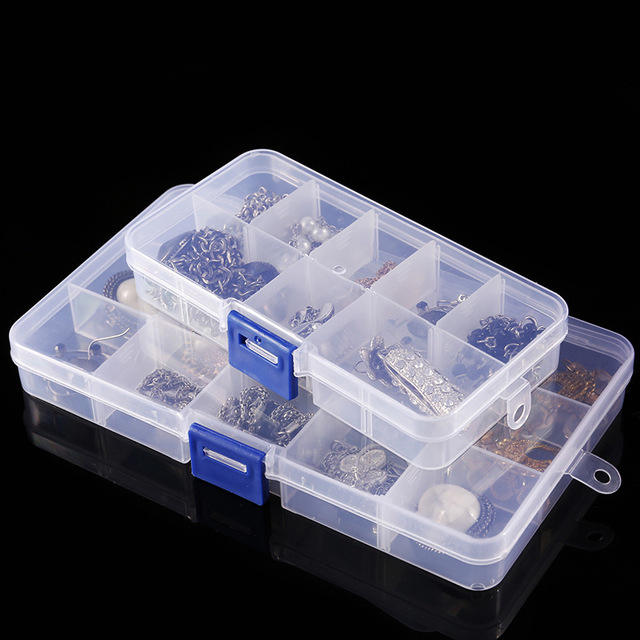 Plastic Container with 36 Detachable Dividers Clear Organizer Box for Beads Storage, Letter Board, Fishing Tackle, Screws, Nails