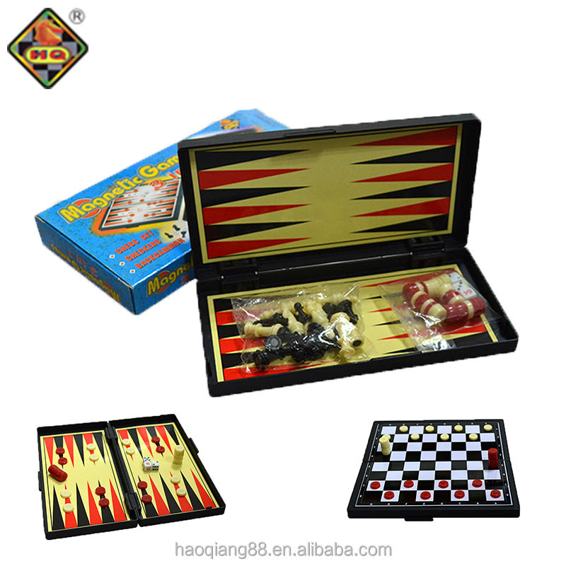 3 in 1 plastic folding magnetic backgammon board checkers chess game set