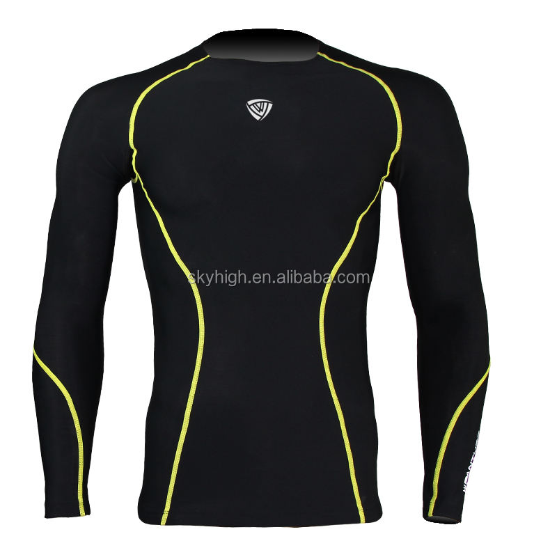 Factory made long sleeve mens compression gym wear dropshipping high quality rush guard