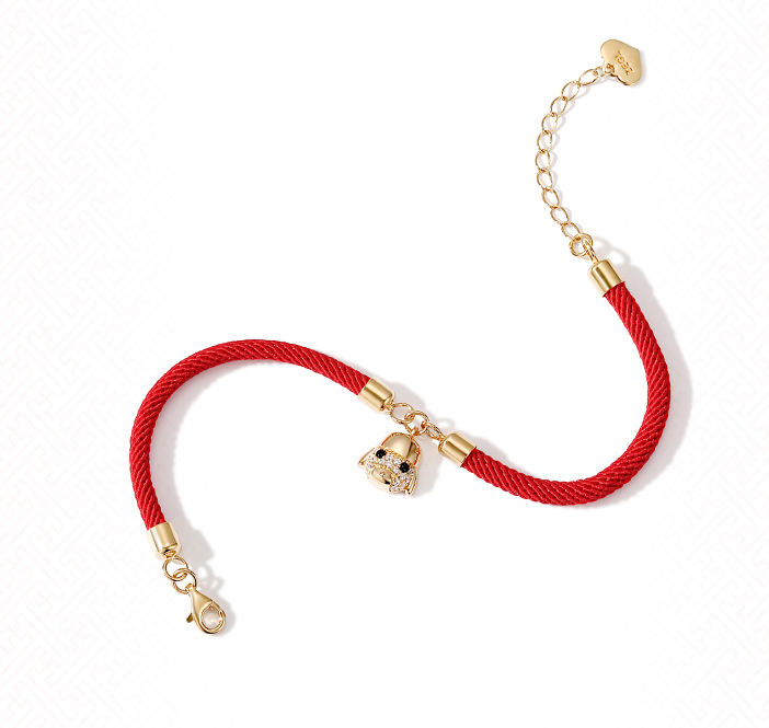 Red beaded red string puppy bracelet 925 silver bracelet lucky bracelet to keep peace this year wear cute New Year wear