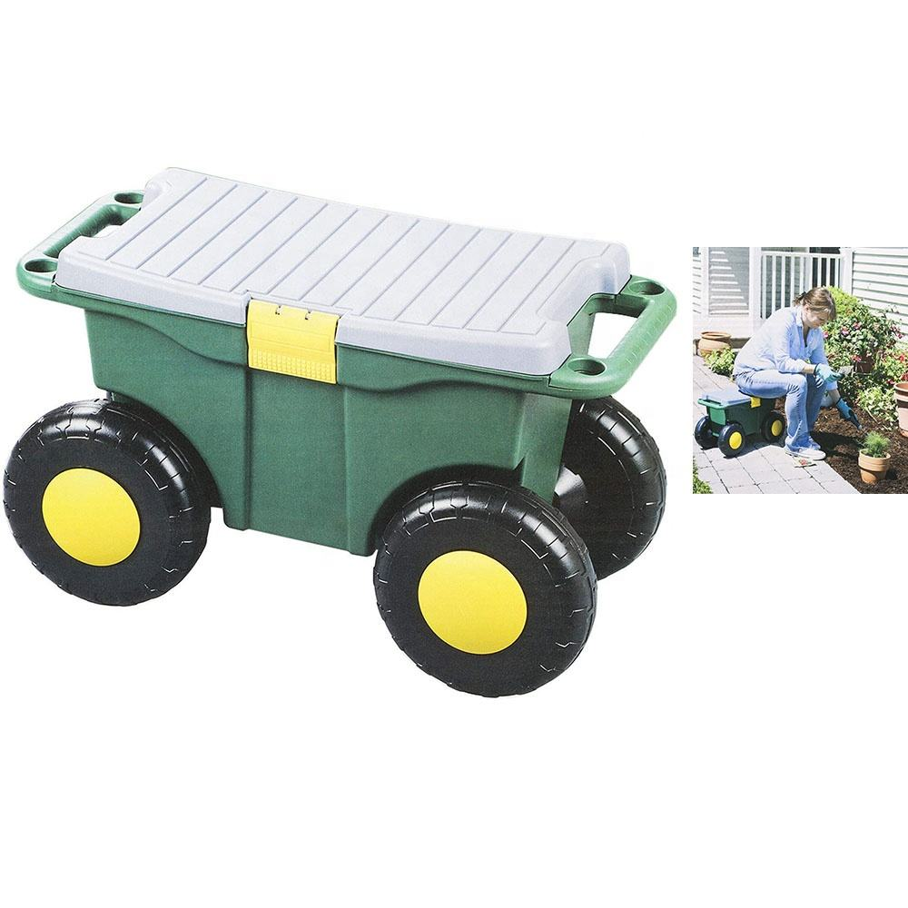 Removable Rolling Plastic Garden Storage Bench Tool Cart Seat 4 Wheels Plastic Tools Storage Container Scooter