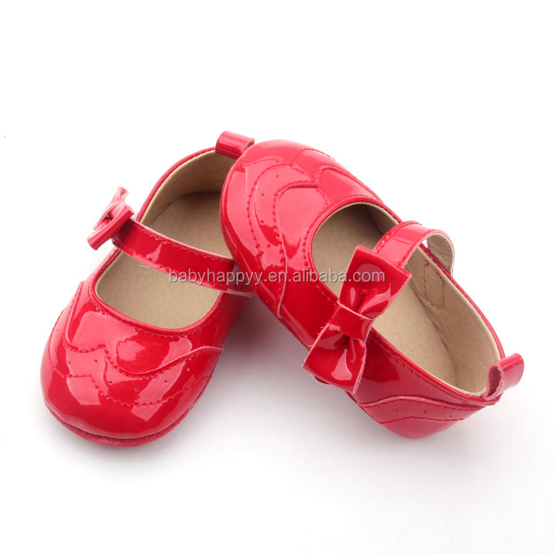 Shenzhen baby shoes factory suede leather sole bow baby girls red bottom baby shoes