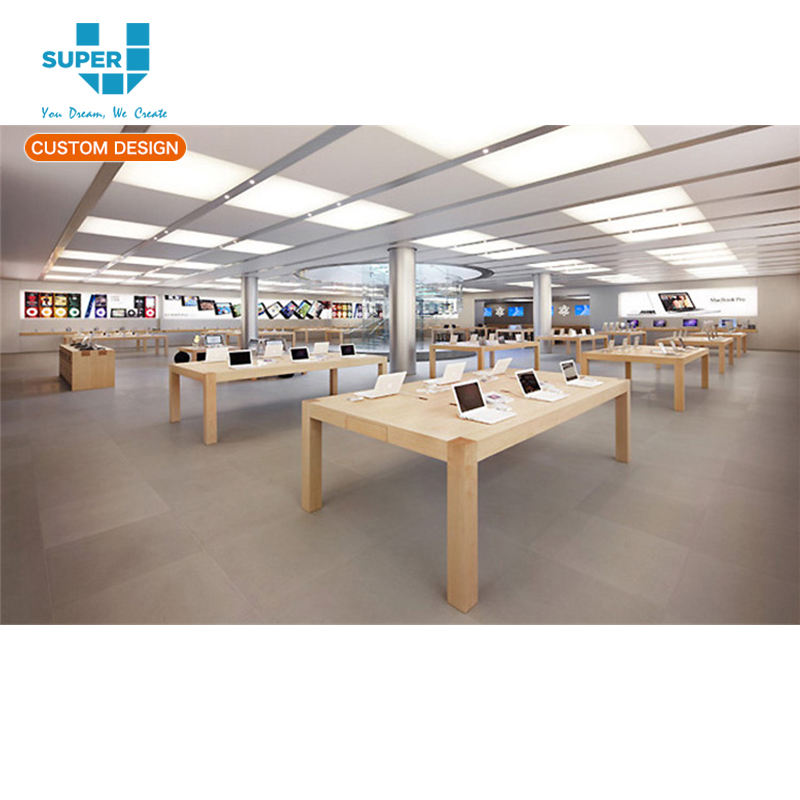 fábrica de Guangzhou mesa de exhibición de madera de <span class=keywords><strong>Apple</strong></span> Store con 4 piernas