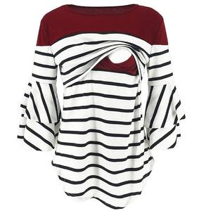 amazon bestseller mother breastfeeding clothes top pregnant maternity nursing clothes nursing mother shirt flare sleeve tops