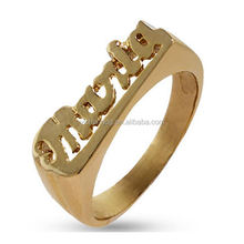 New Design Personalized Ring Wholesale, Celebrity Inspired Gold Plated Name Ring