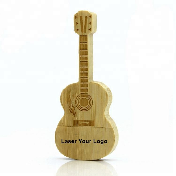 Newest style guitar pendrive wooden pen usb flash drive