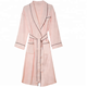 Summer ladies sexy silky pyjamas with pink trim long thin style is wearing a robe home wear long sleeves