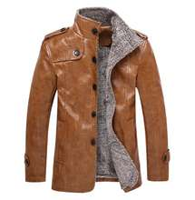 ZY2113A Men's fur integrated leather coat with fleece thickened mid-length jacket