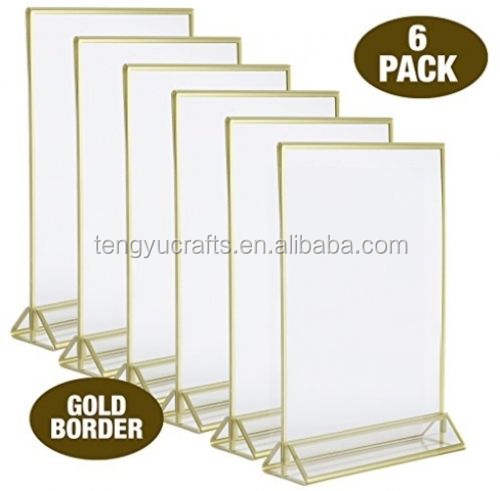 Acrylic Photo Frame Display, 5 X 7 Premium Clear Acrylic Sign, Wedding and Party Table Card Holder With 3mm Gold Border