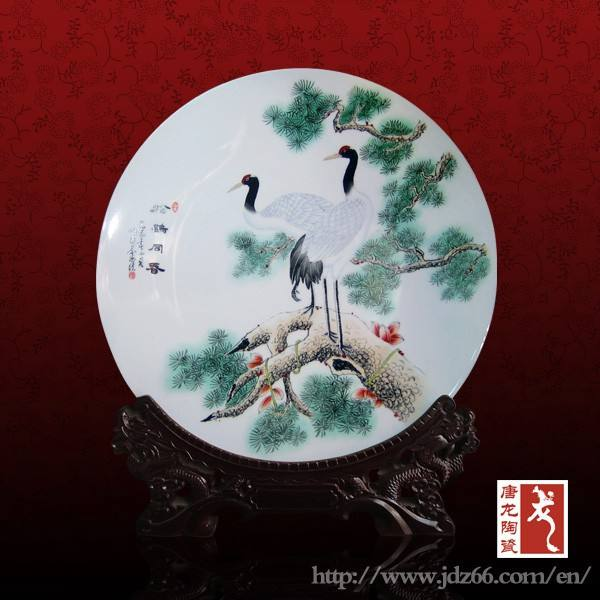 New year gift handpainted cane figure chinese plate antique porcelain for best sale