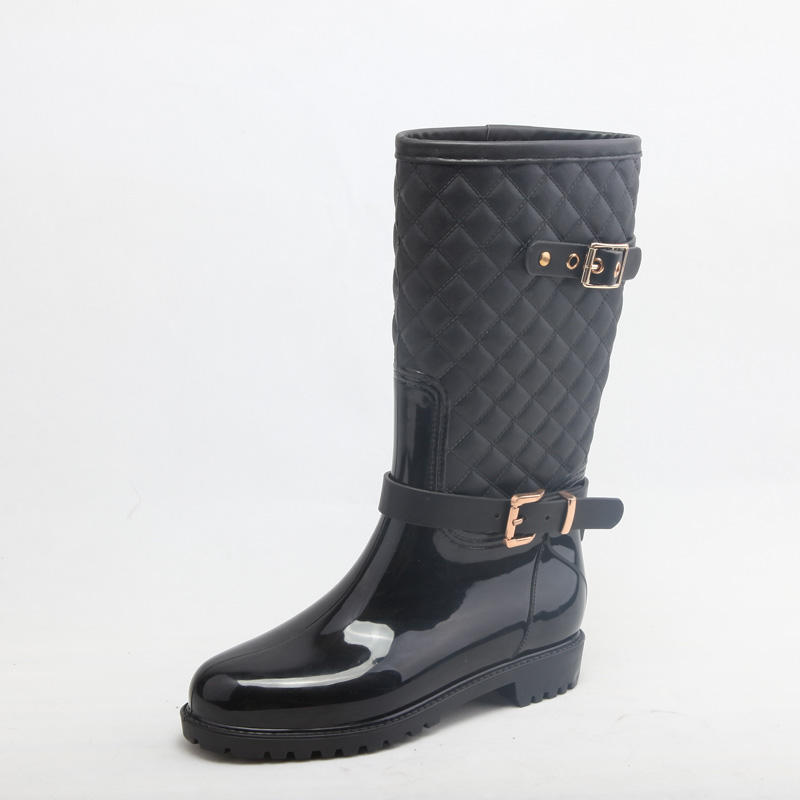 Waterproof high quality ladies long cool winter pvc women rain boots
