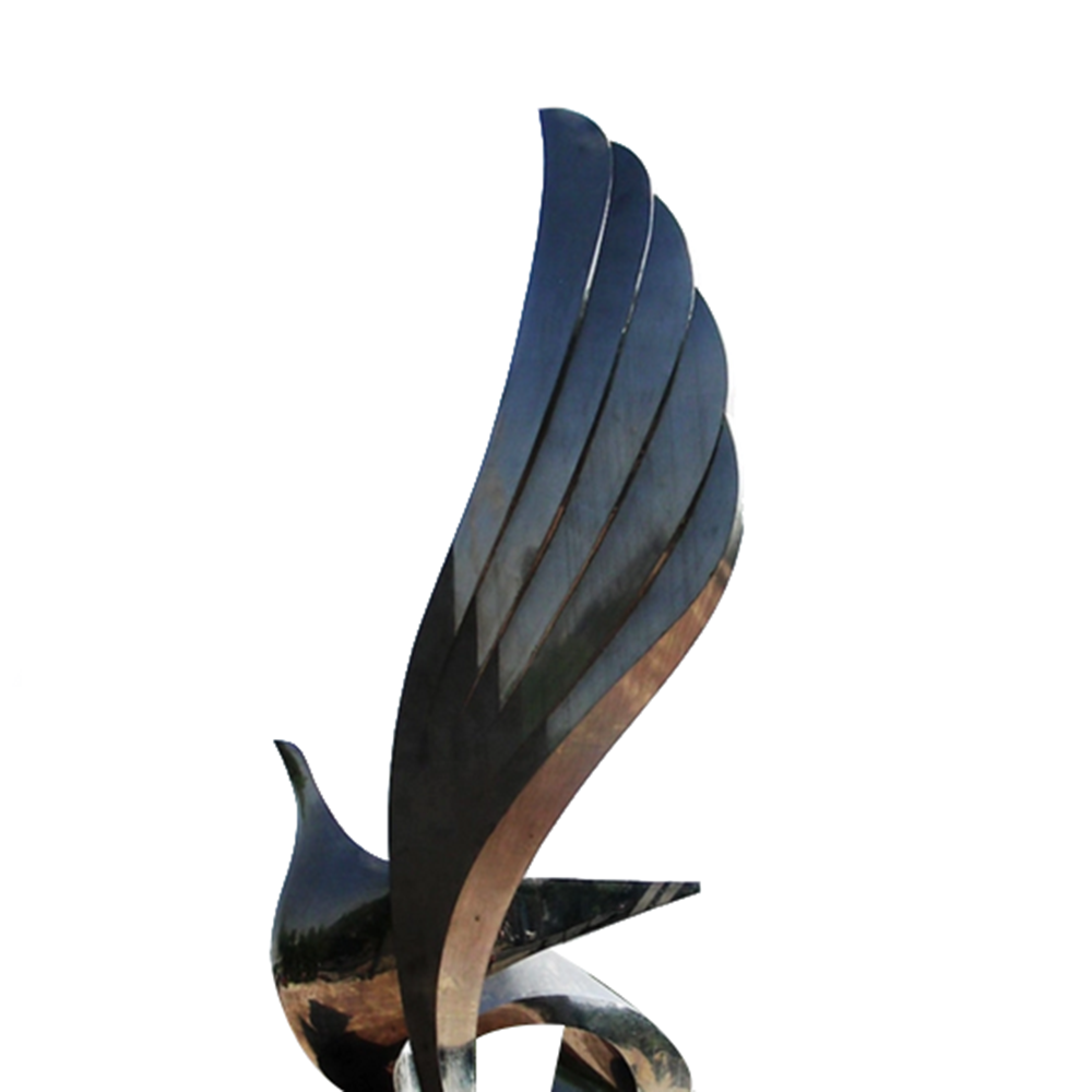 Modern abstract stainless steel polished bird sculpture