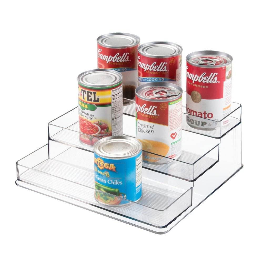 Wholesale Large Desktop Acrylic Clear 3-Tiered Home Storage Linus Spice Organizer Display Stand Rack for Kitchen Pantry