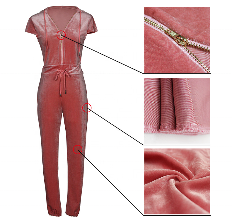 Oem tie waist pink/black skin tight women long pant velvet jumpsuit casual summer stretch polyester sanpdex female jumpsuits