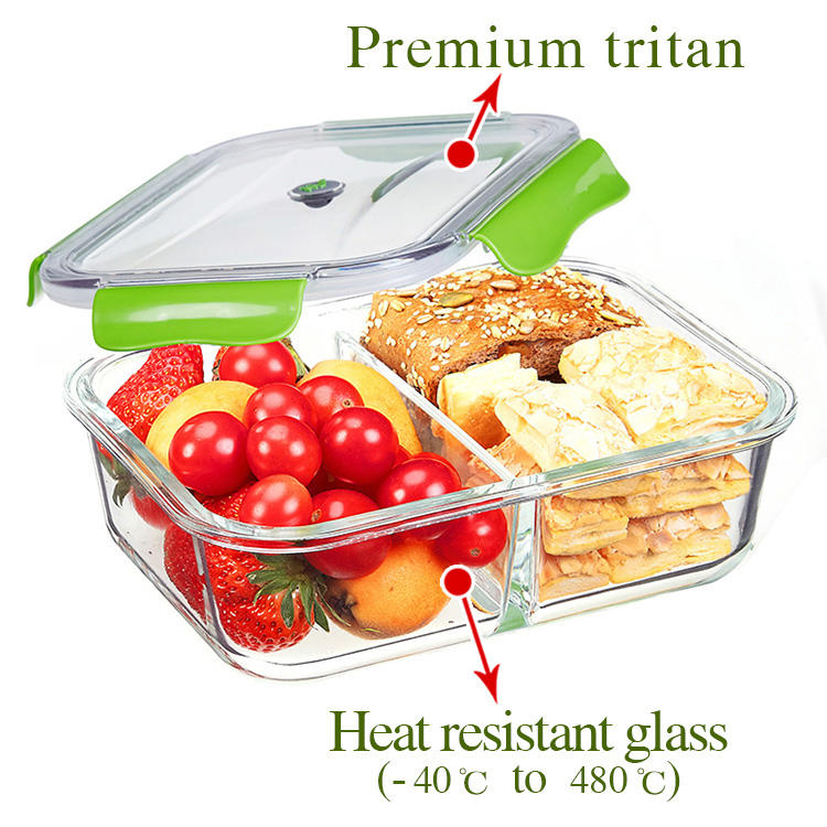1050ml 2 and 3 Compartment high borosilicate glass kids bento lunch box