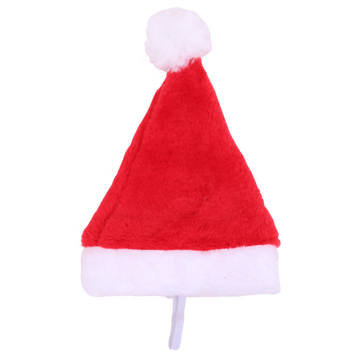 Christmas Decoration High-grade Plush Pet Dog Hat Santa Claus' Cap Small Hat