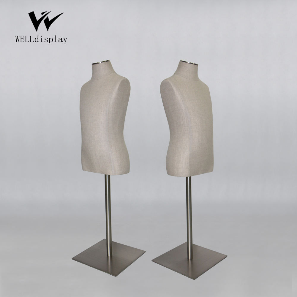 wholesale high quality linen covered PU foam kids child bust dress form mannequin with brushed metal base for clothing display