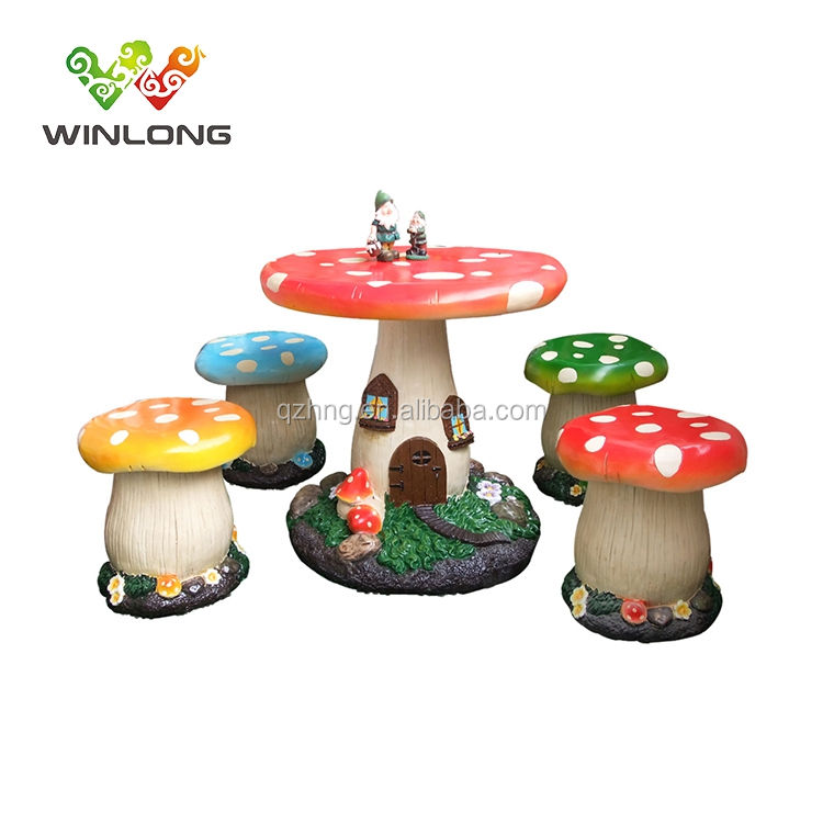 Stone Decoration Fiberglass Kid Mushroom Chair and Table garden furniture outdoor