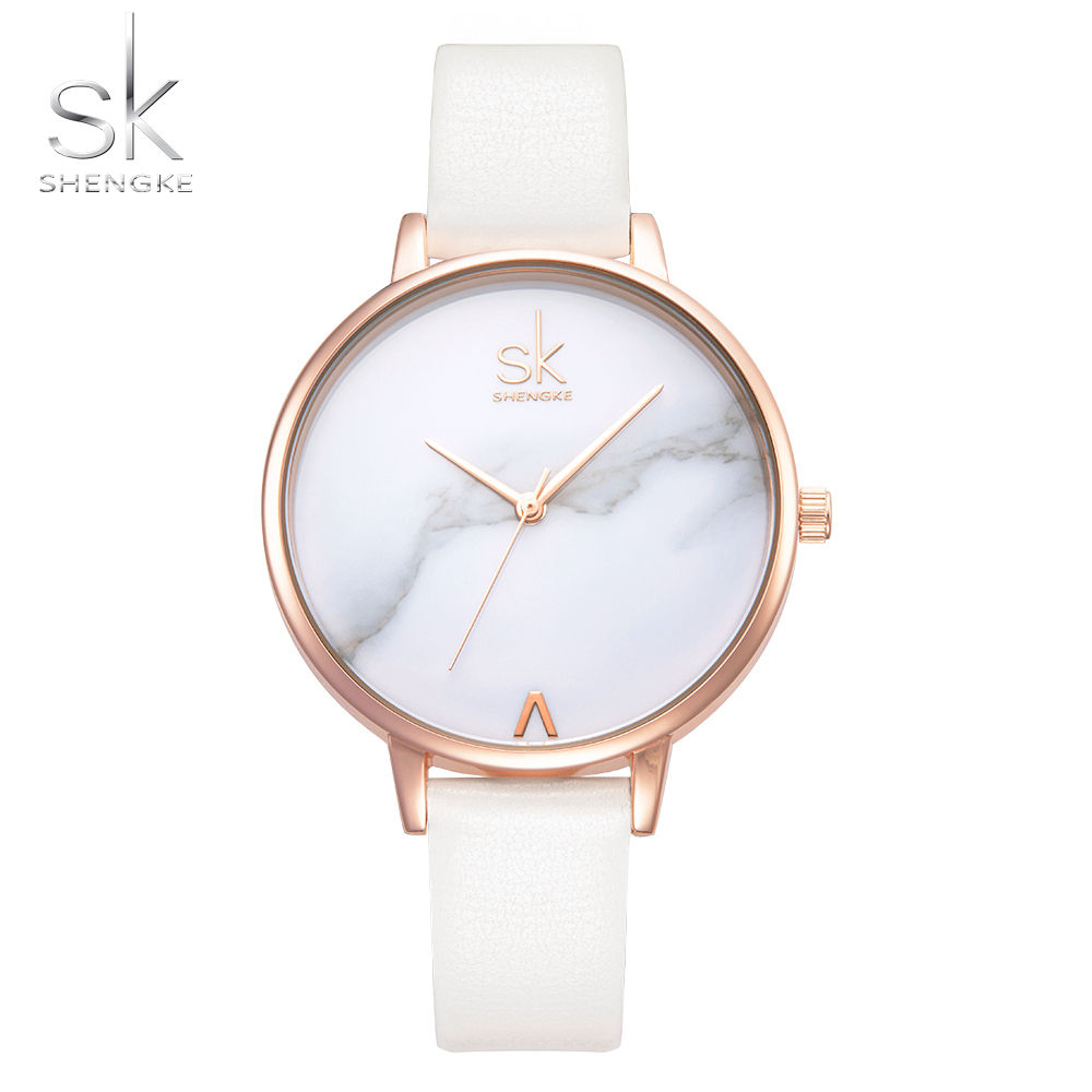 Shengke Top Brand Fashion 숙 녀 Watches 가죽 암 Quartz Watch Women 씬 캐주얼 Strap Watch Reloj Mujer 대리석 다이얼 SK