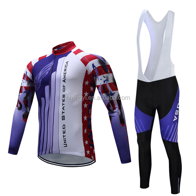 sport wear bicycle uniform set road bike clothing cycling long sleeve jersey and pants set
