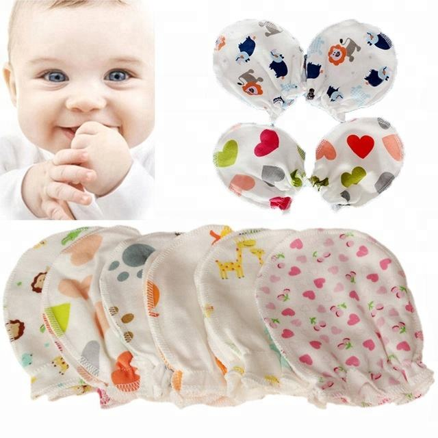 24 Pairs Newborn Baby Cotton Gloves No Scratch Mittens For 0-6 Months Boys Girls