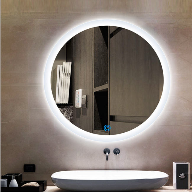 Touch Screen LED Lighted Fog Proof Fashion Wall Mounted Xtendable Table White Mirror