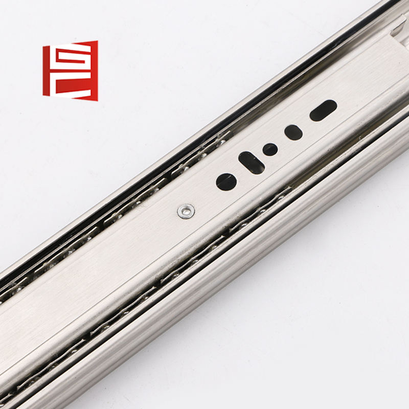 Stainless steel soft close 3-fold ball bearing drawer slide 45mm
