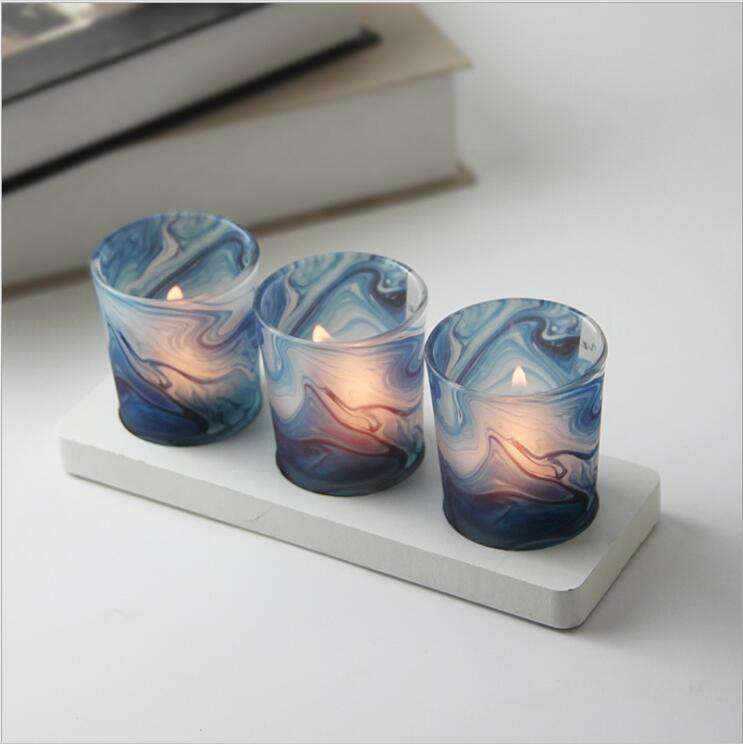 Longyu Wholesale Plating glass candle holder Candle jar container for wedding