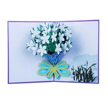 Customized popup 3d Flower Design card congratulations card Beautiful LED light 3d card