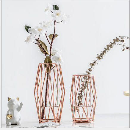 China Wholesale Creative Clear Glass Flower Vase Geometric Gold Vase