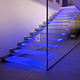 Glass Staircase Straight LED Light Stairs Design