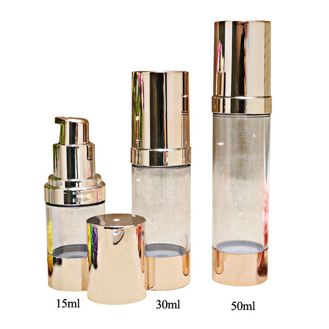 Fuyun 50ml 30ml 15ml Rose Gold Cosmetic Lotion Airless Acrylic Pump Bottle with Gold Pump