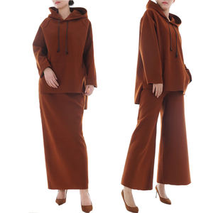 NEW muslim casual Two Set Wool Outfits islamic fashion 2pcs hoodie top and pants or long skirt wholesale islamic clothing