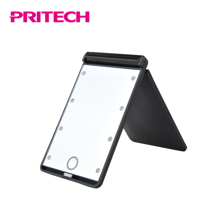 PRITECH Customized Square Battery Operated Portable Foldable LED Pocket Cosmetic Mirror