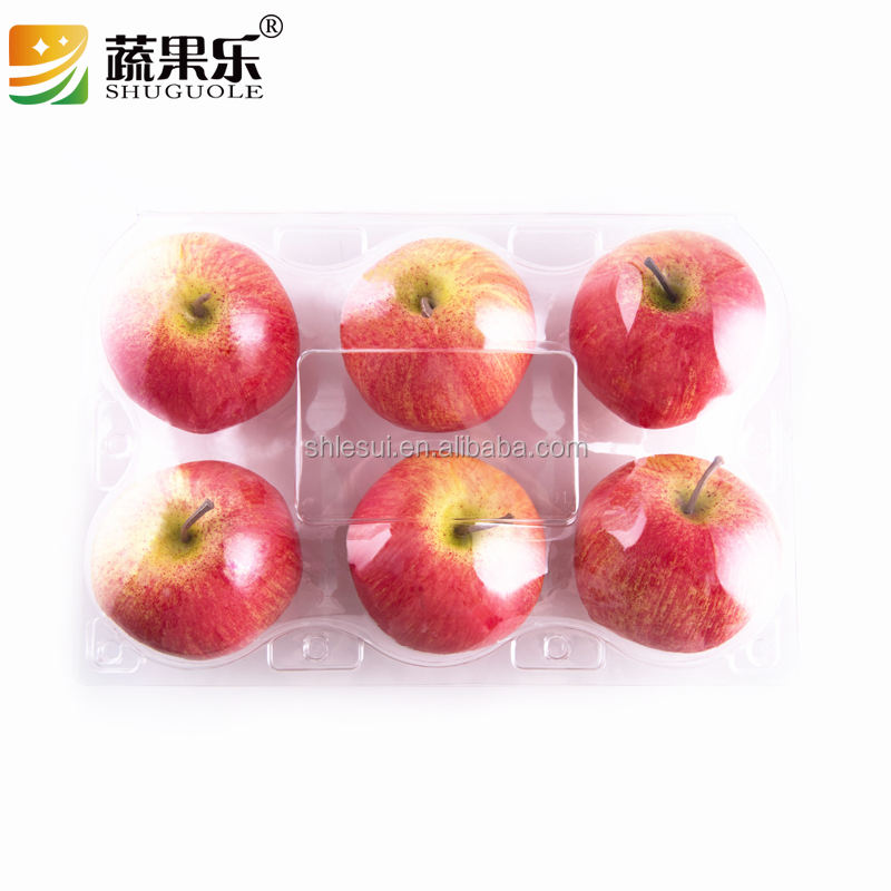 6 cells plastic fruit packaging apple containers