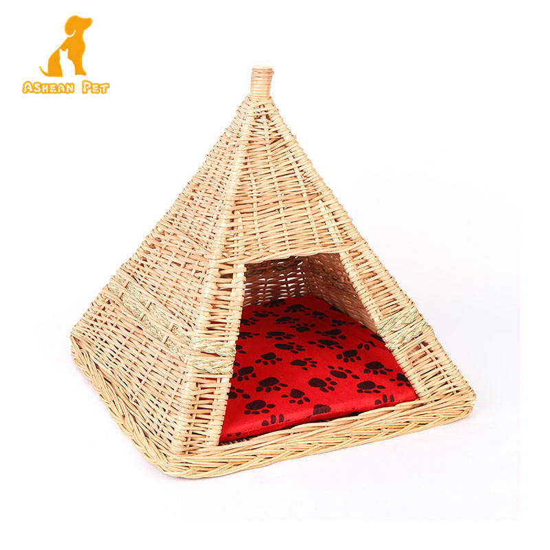 Pet Shop Leverancier Handwerk Rotan Wasbaar Pet Hond Kat Teepee Tent Bed